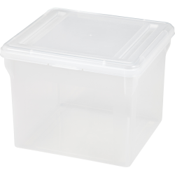 """IRIS File Storage Cube Boxes, Letter Size, 13-3/4"""" x 13"""" x 11"""", Clear, Pack Of 6 File Boxes"""