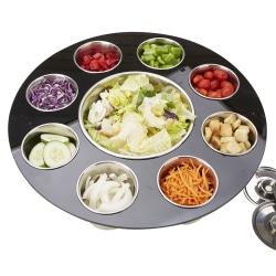 "Mind Reader 9-Compartment Salad Serving Tray, 5-3/4"" x 19"", Black"