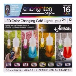 Enbrighten Seasons Vintage LED Café Lights, 24', White Cord