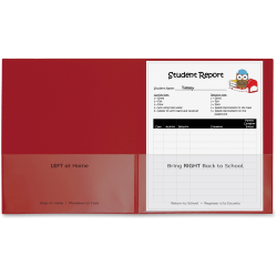 """C-Line Classroom Connector Letter Report Cover - 8 1/2"""" x 11"""" - 2 Internal Pocket(s) - Polypropylene - Red - 25 / Box"""