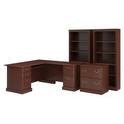 """Bush Furniture Saratoga 66""""W L-Shaped Computer Desk With Lateral File Cabinet And Two 5-Shelf Bookcases, Harvest Cherry, Standard Delivery"""
