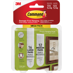 "3M™ Command™ Picture Hanging Strips, 6-5/16"" x 3-15/16"", White, Pack Of 28 Strips"
