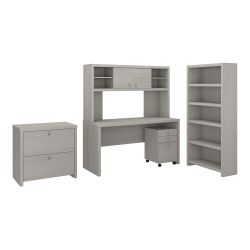 kathy ireland® Office by Bush Business Furniture Echo Desk With Hutch, Bookcase And File Cabinets, Gray Sand, Premium Installation