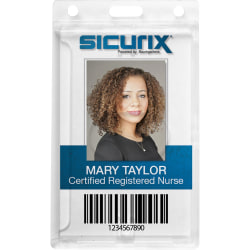 SICURIX Rigid PC ID Badge Dispensers with Thumb Slot - Vertical - Vertical - Polycarbonate - 25 / Pack - Clear