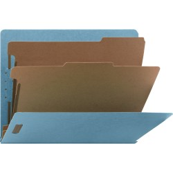 "Nature Saver Letter Recycled Classification Folder - 8 1/2"" x 11"" - End Tab Location - 2 Divider(s) - Blue - 100% - 10 / Box"