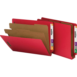 Nature Saver End-Tab Classification Folders, Letter Size, 2 Dividers, 100% Recycled, Red, Box Of 10