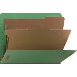 """Nature Saver Recycled End Tab Classification Folders - Letter - 8 1/2"""" x 11"""" Sheet Size - End Tab Location - 2 Divider(s) - 25 pt. Folder Thickness - Green - Recycled - 10 / Box"""