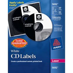 Avery® CD/DVD Labels, Permanent, 5692, Matte White, Pack Of 40