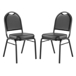 """National Public Seating Dome-Back Padded Vinyl Seat, Stacking Chair, 16"""" Seat Width, Black Seat/Black Frame, Quantity: 2"""