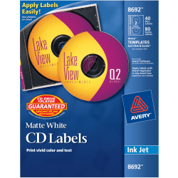 Avery® CD/DVD Labels, Permanent, 8692, Matte White, Pack Of 40