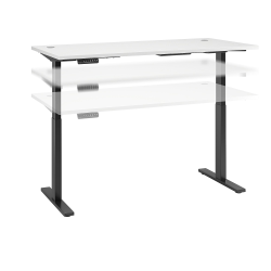 "Bush Business Furniture Move 60 Series 72""W x 30""D Height Adjustable Standing Desk, White/Black Base, Standard Delivery"