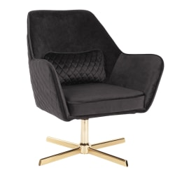 LumiSource Diana Contemporary Lounge Chair, Black/Gold