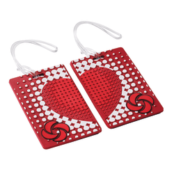 "Samsonite® PVC ID Tags, 4""H x 3""W x 1/16""D, True Love Red, Pack Of 2"