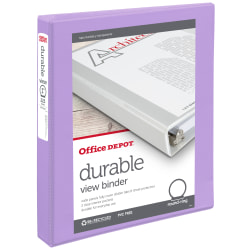 """Office Depot® Brand Durable View Round-Ring Binder, 1"""" Rings, Lavender"""