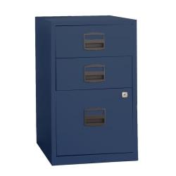 "Bisley 14-13/16""D Vertical 3-Drawer Under-Desk Storage Cabinet, Metal, Navy"