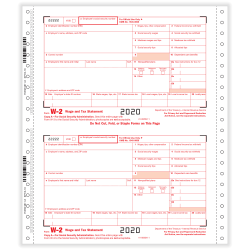 """ComplyRight™ W-2 Tax Forms, 6-Part, 2-Up, Employer's Copies A, 1/D, B, C, 2, 1/D, 1-Wide, Continuous, 9"""" x 11"""", Pack Of 100 Forms"""