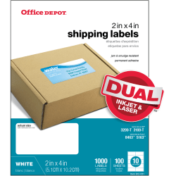 "Office Depot® Brand White Inkjet/Laser Shipping Labels, 505-O004-0008, 2"" x 4"", Box Of 1,000"