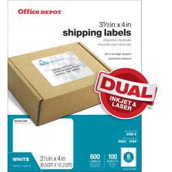 "Office Depot® Brand White Inkjet/Laser Shipping Labels, 505-O004-0010, 3 1/3"" x 4"", Box Of 600"