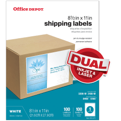 "Office Depot® Brand White Inkjet/Laser Permanent Full-Sheet Labels, 505-O004-0012, 8 1/2"" x 11"", Box Of 100"