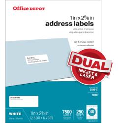 """Office Depot® Brand Inkjet/Laser Address Labels, White, 1"""" x 2 5/8"""", Pack Of 7,500"""