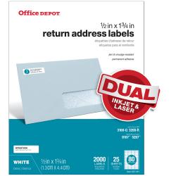 """Office Depot® Brand Inkjet/Laser Return Address Labels, White, 1/2"""" x 1 3/4"""", Pack Of 2,000"""