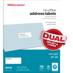 "Office Depot® Brand White Inkjet/Laser Address Labels, 505-O004-0003, 1"" x 2 5/8"", Pack Of 750"