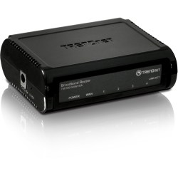 TRENDnet 4-Port Broadband Router;TW100-S4W1CA; 4 x 10/100 Mbps Half/Full Duplex Switch Ports; Instant Recognizing; Remote Management; Share High-Speed Cable/xDSL Internet Connection; Plug & Play - 4-Port Broadband Router