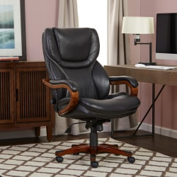 Serta® Big And Tall Bonded Leather High-Back Office Chair, Black/Dark Redwood