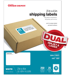 "Office Depot® Brand Inkjet/Laser Shipping Labels, White, 2"" x 4"", Pack Of 250"