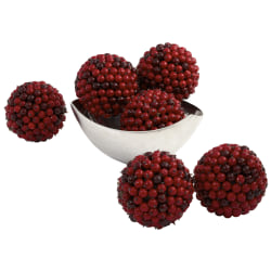 """Nearly Natural Plastic Berry Balls, Red, 4-1/2"""", Set Of 6 Balls"""