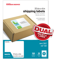 "Office Depot® Brand White Inkjet/Laser Shipping Labels, 505-O004-0009, 3 1/3"" x 4"", Pack Of 150"