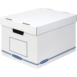 """Bankers Box Organizers Storage Boxes - External Dimensions: 12.8"""" Width x 16.5"""" Depth x 10.5"""" Height - Medium Duty - Single/Double Wall - Stackable - White, Blue - For Storage - Recycled"""
