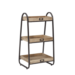 "Linon Home Decor Products Lynne 3-Tier Bath Stand, 32-1/2""H x 17-5/16""W x 13-5/8""D, Rustic Brown"