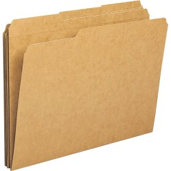 """Business Source 1/3-cut Tab Heavy Weight Kraft File Folders - Letter - 8 1/2"""" x 11"""" Sheet Size - 1/3 Tab Cut - Top Tab Location - Assorted Position Tab Position - 11 pt. Folder Thickness - Kraft, Stock - Recycled - 100 / Box"""