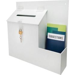 "Deflecto® Suggestion Storage Box With Lock, 13"" x 13 13/16"" x 3 5/8"", White"