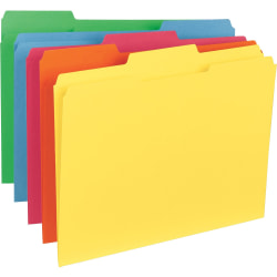 "Business Source 1/3-Cut Tab Colored File Folders - Letter - 8 1/2"" x 11"" Sheet Size - 1/3 Tab Cut - Assorted Position Tab Location - 11 pt. Folder Thickness - Stock - Blue, Green, Red, Orange, Yellow - Recycled - 100 / Box"