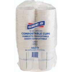 Genuine Joe Eco-friendly Paper Cups - 12 fl oz - 50 / Pack - White - Paper
