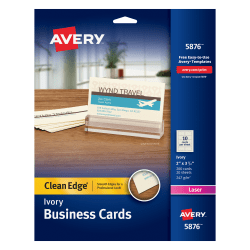 """Avery® Laser Clean Edge® Two-Side Printable Business Cards, 2"""" x 3 1/2"""", Ivory, Pack Of 200"""