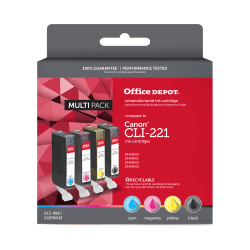 Office Depot® Brand ODCLI221BCMY (Canon CLI-221) Remanufactured Black/Cyan/Magenta/Yellow Ink Cartridges, Pack Of 4