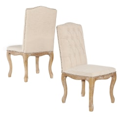 Linon Oakland Square-Back Dining Chairs, Light Brown/Natural, Set Of 2 Chairs