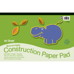 "Art Street® Construction Paper, 18"" x 12"", 100% Recycled, Assorted, Pad Of 48 Sheets"