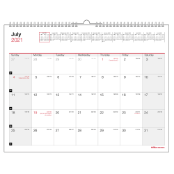 """Office Depot® Brand Monthly Academic Wall Calendar, 8-1/2"""" x 11"""", 30% Recycled, July 2021 to June 2022, ODUS2033-004"""