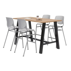 """KFI Midtown Bistro Table With 4 Stacking Chairs, 41""""H x 36""""W x 72""""D, Kensington Maple/Light Gray"""