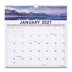 """AT-A-GLANCE® Landscape Monthly Wall Calendar, 12"""" x 12"""", January To December 2021, 88200"""