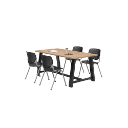 KFI Studios Midtown Table With 4 Stacking Chairs, Kensington Maple/Black