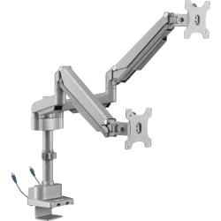 """Lorell® Dual Gas Spring Arm Mount, 9-3/8""""H x 12-1/8""""W x 18""""D, Matte Black/Metallic Gray"""