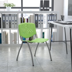 Flash Furniture HERCULES Series Plastic Stack Chair With Titanium Frame, Green/Gray