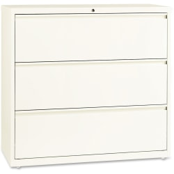 "Lorell® Fortress 42""W Lateral 3-Drawer File Cabinet, Metal, Cloud White"