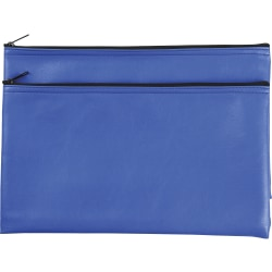 "Business Source Carrying Case (Wallet) Money, Receipt, Office Supplies, Check - Blue - Polyvinyl Chloride (PVC) - 6"" Height x 11"" Width"