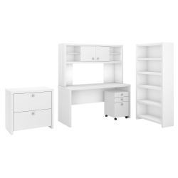 kathy ireland® Office by Bush Business Furniture Echo Desk With Hutch, Bookcase And File Cabinets, Pure White, Premium Installation